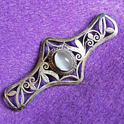 SALE Fine STERLING & MOONSTONE Vintage Pin Brooch