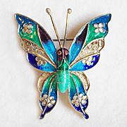 SALE Fabulous PLIQUE A JOUR Butterfly 800 Silver Vintage Pin Brooch