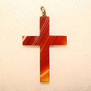 Fabulous Victorian Antique BANDED AGATE CROSS Pendant