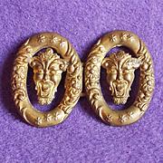 Antique DEVIL Brass Sash Buckle