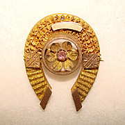 Fabulous Victorian Antique HORSESHOE BROOCH with Pink Stone