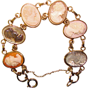 Fabulous Signed GOLD FILLED MULTI SHELL CAMEO Estate BRACELET