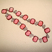 Fabulous ART DECO Filigree & Large Pink Glass Stones NECKLACE