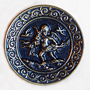 Antique ANGEL ON THE RUN Large Picture Story Button