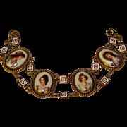 Fabulous Old PORCELAIN LADY PORTRAITS Panel Bracelet