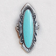 Fabulous STERLING & LIGHT TURQUOISE Signed Bell Vintage Ring