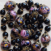 SALE Gorgeous VENETIAN GLASS Wedding Cake Black Vintage Necklace