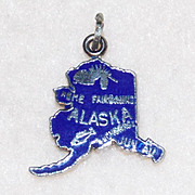 SALE Sterling ALASKA Blue Enamel Vintage Estate Charm