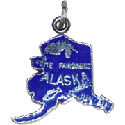 Sterling ALASKA Blue Enamel Vintage Estate Charm