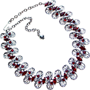 Fabulous DODDS Vintage Wide RED RHINESTONE Necklace