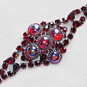 Fabulous HUGE RED RHINESTONE Vintage Estate Bracelet