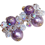 Gorgeous VENDOME Signed Aurora Crystal & Purple Bead Earrings