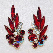 SALE Fabulous D&E JULIANA Red Rhinestone Vintage Earrings