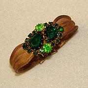 Fabulous GREEN RHINESTONE Vintage Mesh Wrap BRACELET