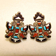 Fine Zuni Knifewing Stone to Stone Mosaic Inlay Earrings Vintage 1940s