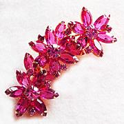 Fabulous PINK RHINESTONE FLOWERS Open Back Vintage Pin Brooch