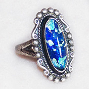 Fabulous MAISELS INDIAN TRADING POST Sterling & Foil Glass Vintage Ring