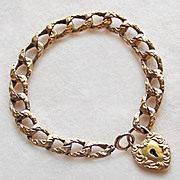 SALE Fabulous VICTORIAN Antique Heart Lock Charm Bracelet