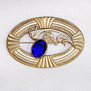 Fabulous VICTORIAN Cobalt Glass Stone Sash Pin Brooch