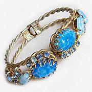Fabulous BLUE OPALESCENT GLASS & Rhinestone Vintage Clamper Bracelet