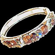 Signed LISNER Fawn Rhinestone Hinged Vintage Bangle Bracelet