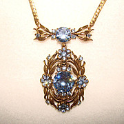 SALE Fabulous HOLLYCRAFT Signed BLUE RHINESTONE Necklace COPR 1954