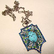 Fabulous AQUA GLASS & BLUE GREEN Rhinestone Vintage Estate Pendant Necklace