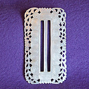 Fabulous CARVED MOTHER OF PEARL Huge Antique Buckle