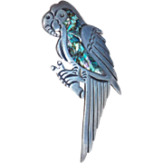Mexican Sterling PARROT Signed Vintage Pin Brooch