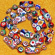 Fabulous ITALIAN MILLEFIORI GLASS Beads Vintage Necklace