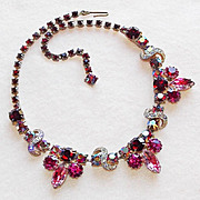 Fabulous RED & PINK RHINESTONE Vintage Necklace