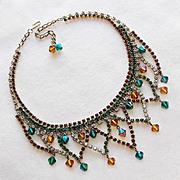 Fabulous GREEN & AMBER Rhinestone & Crystal Dangle Vintage Necklace
