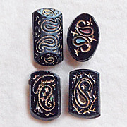 4 Antique Victorian PAISLEY Black Glass Buttons