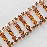 Gorgeous AMBER RHINESTONE Wide Vintage Bracelet