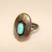 Gorgeous STERLING & TURQUOISE Vintage Estate RING