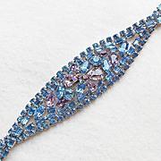 Fabulous HOBE Signed Blue & Lavender Rhinestone Vintage Bracelet