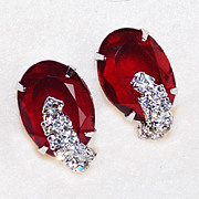 Gorgeous RED GLASS & RHINESTONE Vintage Earrings