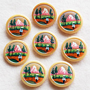 Vintage HAND PAINTED Mountain Scene Buttons