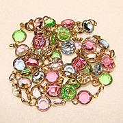 Gorgeous BEZEL SET COLORED CRYSTAL STONES Vintage Estate Necklace