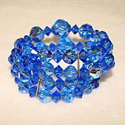 Fabulous BLUE AURORA CRYSTAL Vintage Estate Wrap Bracelet