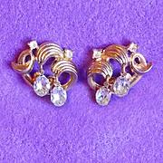 SALE Gorgeous TRIFARI Signed Clear Rhinestone Vintage Earrings