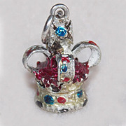 SALE Sterling CROWN Enamel Painted Vintage Charm