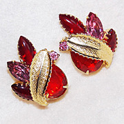 SALE Fabulous RED & PINK RHINESTONE Vintage Estate Earrings