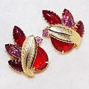 Fabulous RED & PINK RHINESTONE Vintage Estate Earrings