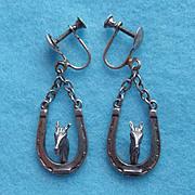 Fabulous STERLING HORSE & HORSESHOE Vintage Dangle Earrings