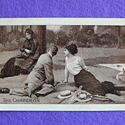 THE CHAPERON & Romantic Couple on a Picnic Antique Postcard