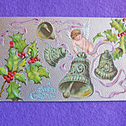 Antique CHRISTMAS Cherub Angel Holly & Bells Victorian Estate Postcard