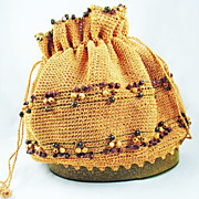 SALE Vintage Earth Tone Crochet Purse With Funky Glitter Lucite Bottom