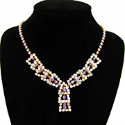SALE Vintage Aurora Borealis and Vintage Rose Rhinestone Lavaliere Style Necklace