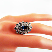 SALE 18K HGE Sapphire Rhinestone Marquis Cocktail Ring - size 7-1/4